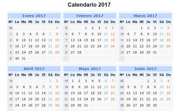 calendario informal 2017